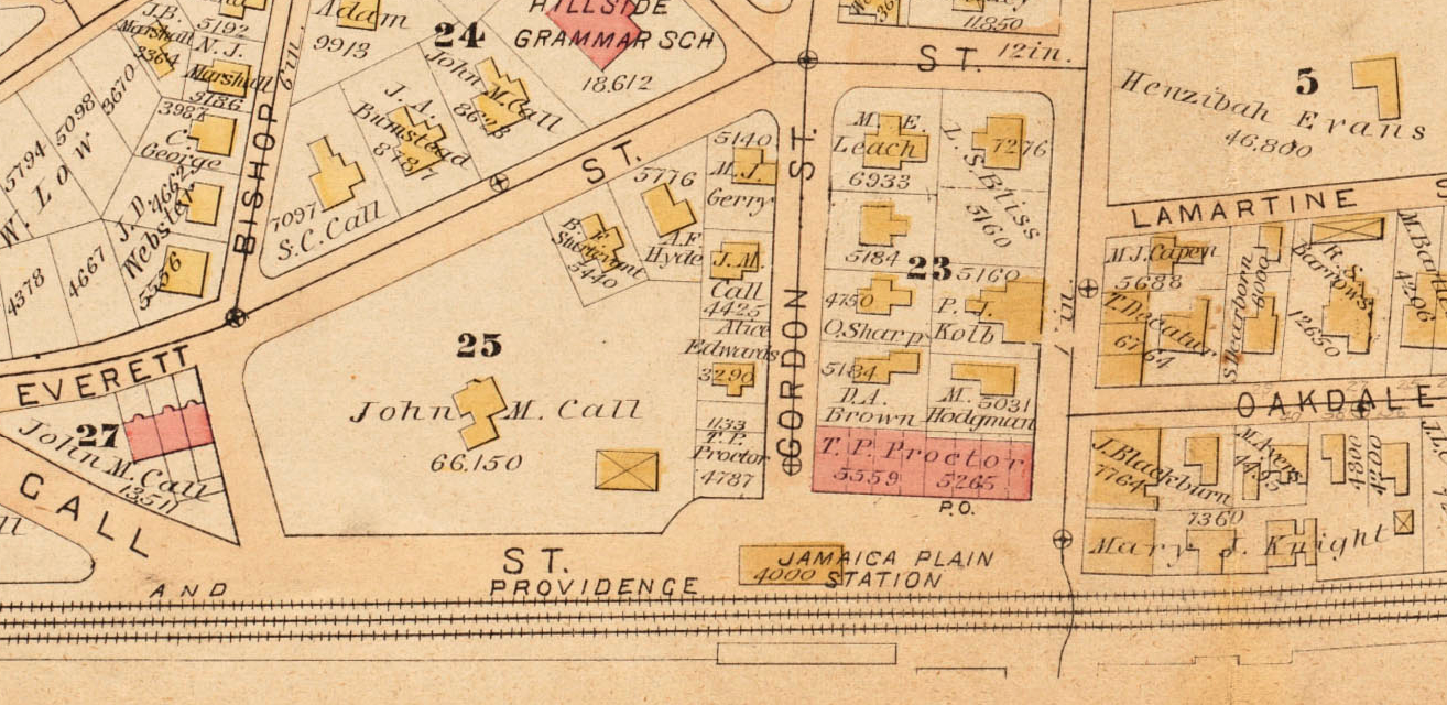 The Call Mansion shown on the 1884 Bromley map of West Roxbury. Plate C. Jamaica Plain Historical Society archives.