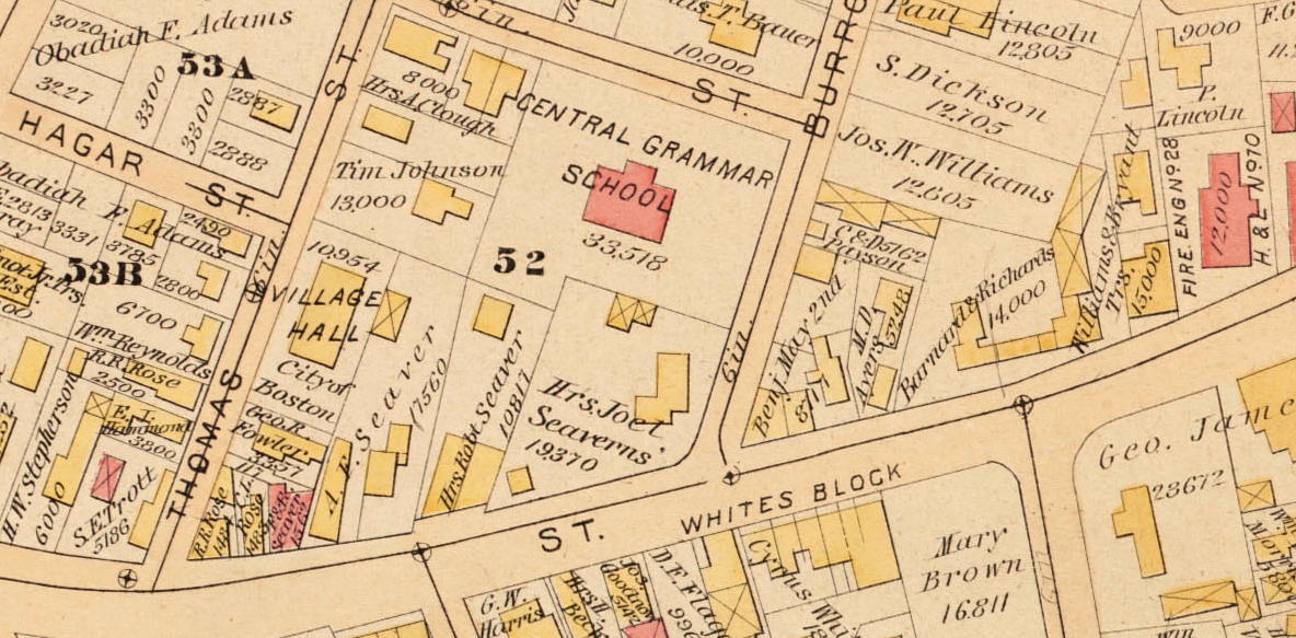 G.W. Bromley 1884 map of West Roxbury showing Seaver store property. Plate C from Jamaica Plain Historical Society archives.