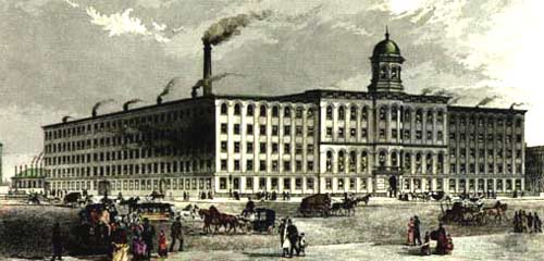 Chickering & Sons Piano Forte Manufactory built in 1853, at 791 Tremont St. Hand colored steel engraving published by Lowell & Co., Boston, 1870.