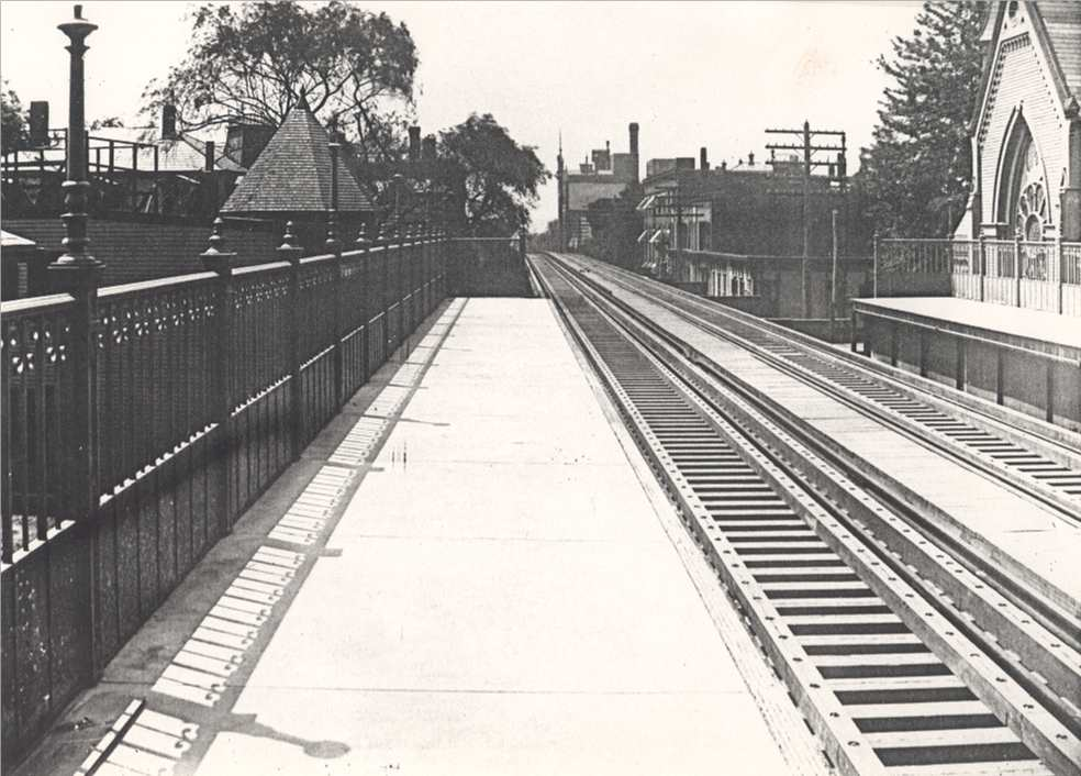 Egleston Square platform on July 30, 1908. The Egleston Square Methodist Church on right was overwhelmed by noise from the trains and moved to Walnut Ave.