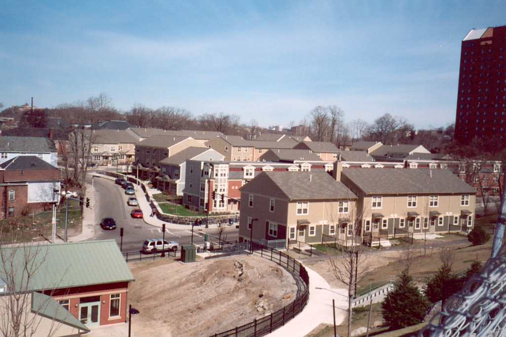Academy Homes II, completely redesigned and reconfigured. Photograph taken Spring, 2005. View from Codman Park looking across Washington St. to Dimock St.