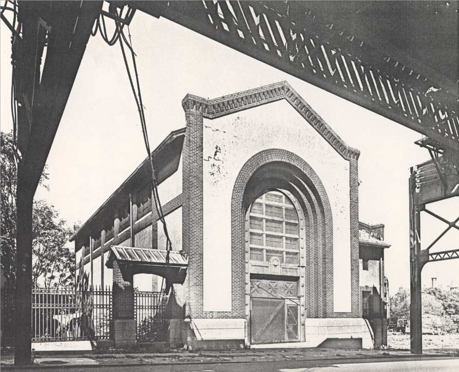 This power substation for the elevated railway was built in 1909. Photograph by Richard Cheek in the summer of 1982.