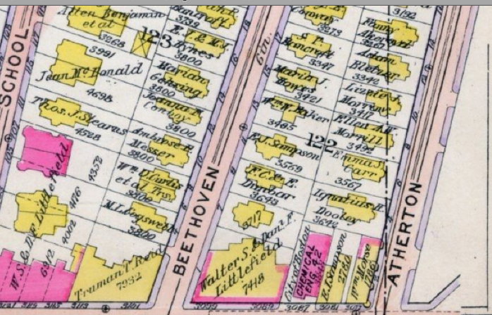 1914 Bromley Real Estate Atlas page showing the location of Firehouse Engine 42.
