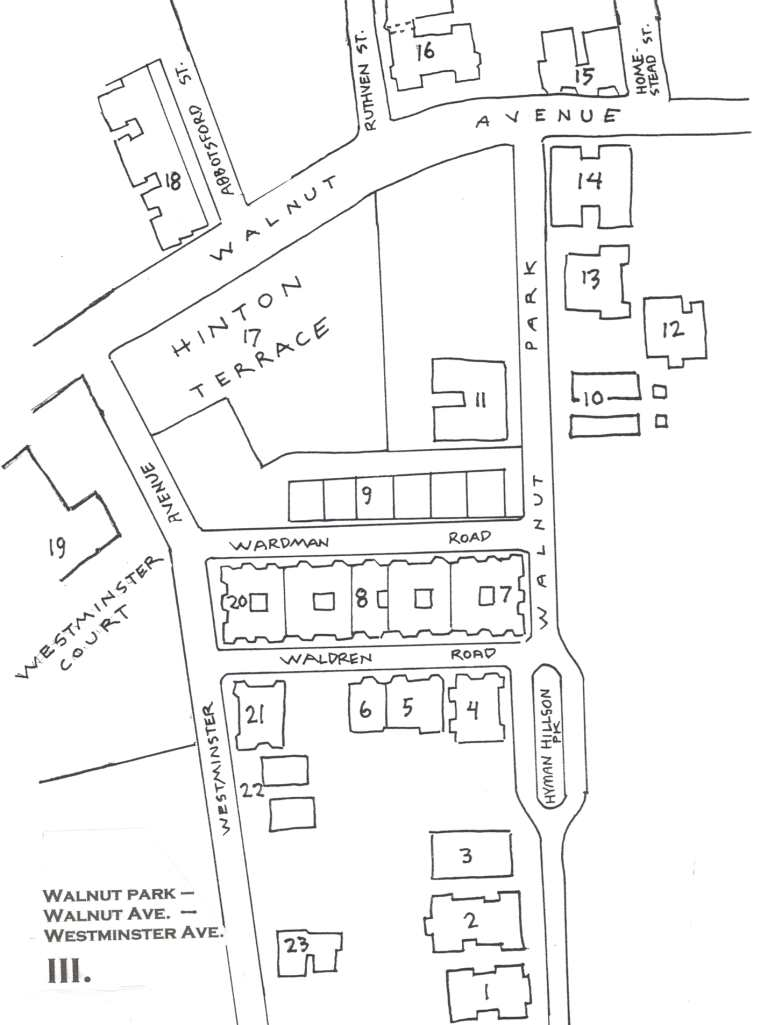 Map of Walnut Park showing Walnut Avenue and Westminster Avenue.