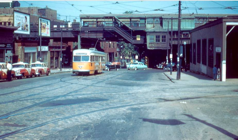 Streetcar from Park Square entering Egleston Station in 1955 the last year of streetcar service. Buses would replace fixed rail the next year. Note the Columbus Cab stand on the left. The waiting room and dispatch office was at 1971 Columbus Ave,Frank Pfuhler photo. RRPictures Archives.
