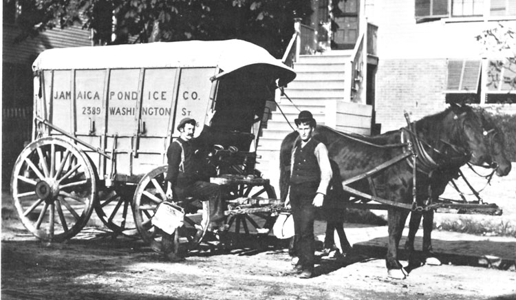 Prior to the introduction of home refrigerators in 1916, ice was commonly used to keep food fresh. The Jamaica Pond Ice Company delivered ice to residences for use in iceboxes that were wood chests lined with zinc. This photograph shows two delivery men using ice tongs to hold blocks of ice cut to the proper size to fit into iceboxes. Iceboxes didn't disappear from U.S. homes entirely until after World War II when mass production made refrigerators affordable for most families. Photograph courtesy of the Boston Public Library