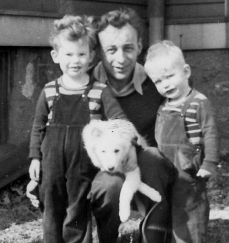(left to right) Paul Trudel, Paul's father, and Paul's brother David, and his dog, Fluffy.