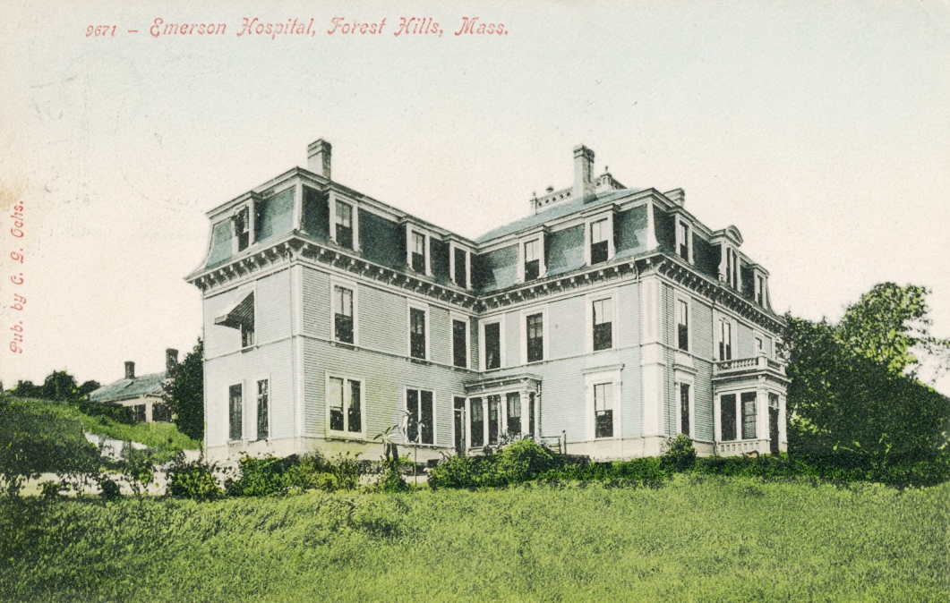 Emerson Hospital, a 42-bed institution, once stood at 118 Forest Hills St. The hospital was founded and operated by noted Homeopathic physician Nathaniel W. Emerson. The hospital was established before 1907 and appears on maps as late as 1924.