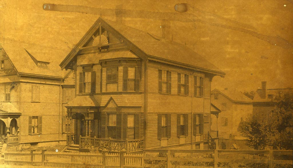 16 Sheridan Street was built for and Inspected by Michael W. Fitzsimmons and his wife Sarah. Fitzsimmons was the keeper of the plans for the Boston Building Department. The photograph was taken by the Holmes Brothers of Needham, Mass about 1886. Photograph provided courtesy of Michele Clark.