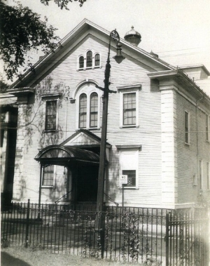 Eliot Hall on Eliot Street. Home of the Footlight Club.  This photograph was taken on August 8, 1948 by John J. Sheehan. Provided courtesy of Kathy Hourihan.
