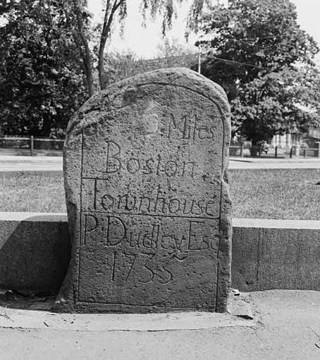 Marker #5 located by the monument at Centre and South Streets in Jamaica Plain. Photograph by Frank O. Branzetti in 1940. Library of Congress.