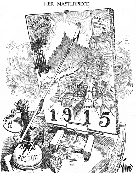 High Mass Progressivism: The business-led Boston 1915 Movement perfectly promoted in this front-page editorial cartoon. Woodbourne was conceived out of Boston 1915 and was one of its most lasting achievements. Boston Sunday Herald, April 4, 1909.