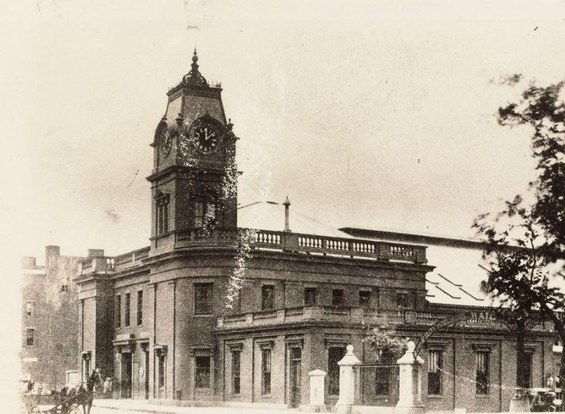 Old Boston & Providence Railroad Depot: Park Square. Razed 1870s. Courtesy Boston Public Library. 5143680788