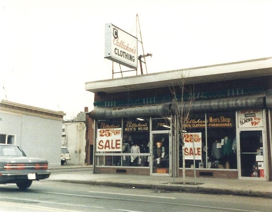 Callahan's Men's Shop. Jamaica Plain Historical Society archives.