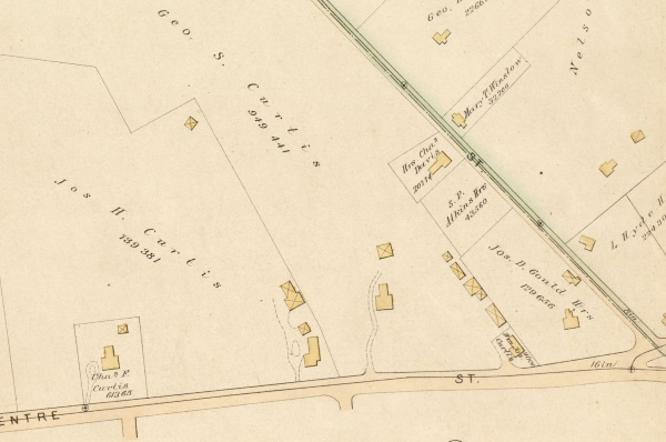1884 G.W. Bromley map showing Curtis family properties on Centre St.