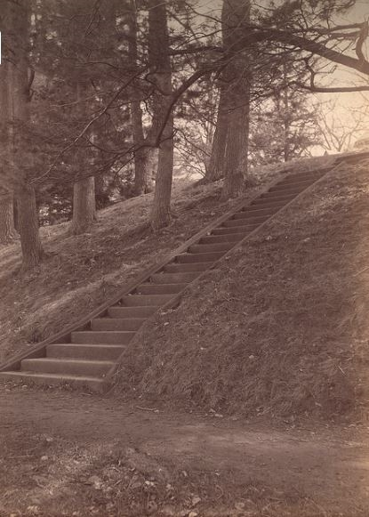 John Hancock stairs at Jamaica Pond. Courtesy  Boston Public Library .