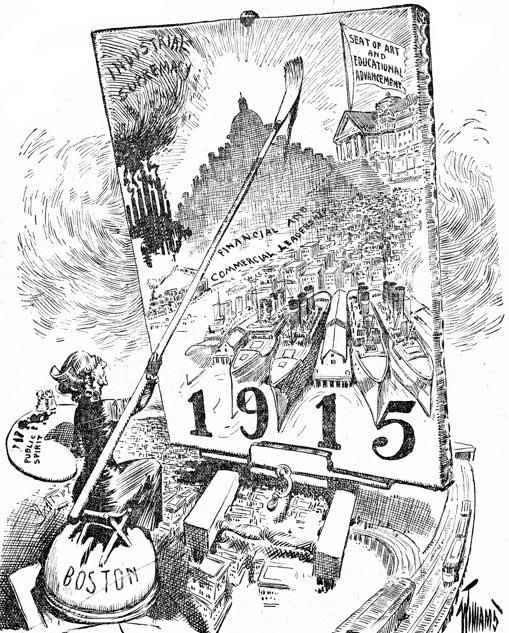 Boston Sunday Herald. https://commons.wikimedia.org/wiki/File:1909_Boston1915Movement_BostonSundayHerald_April4.png