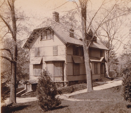 The summer house of Francis Parkman 'Sunnyside' taken from Prince Street. Photograph dates to 1894 shortly before the house was razed for Jamaica Park. Courtesy of the Frederick Law Olmsted National Historic Site.
