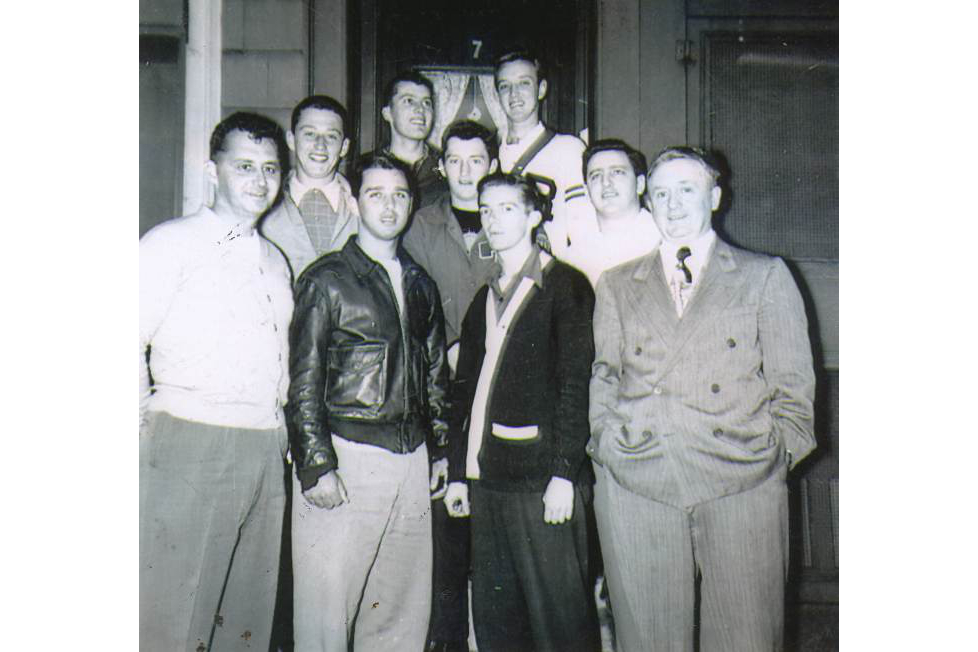 "Most of these fellows were ""Big Kids"". Front row, left to right: Coach Al ""China"" MacFarland, Tom Griffin, Bob Quinn, and Mr. Clifford. Second row, left to right, Frank O'Connor, Jack O'Connor, and Tom Duffin. Back row, left to right, Frannie Tighe and Dickie Sullivan. 1949."