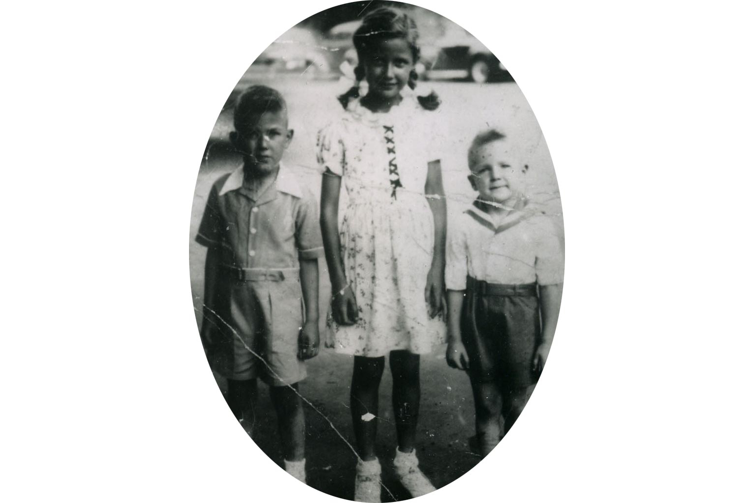 (left to right) Jim, Chris, and Jack Cradocks. 1946.