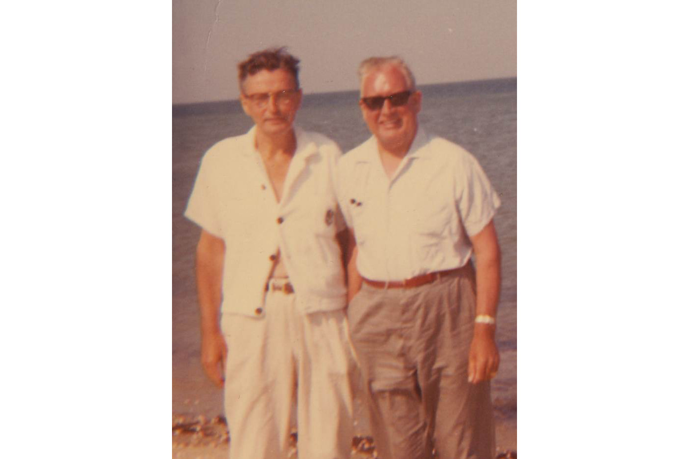 Dad Jim Cradock with family friend, Nantasket Beach, 1960.