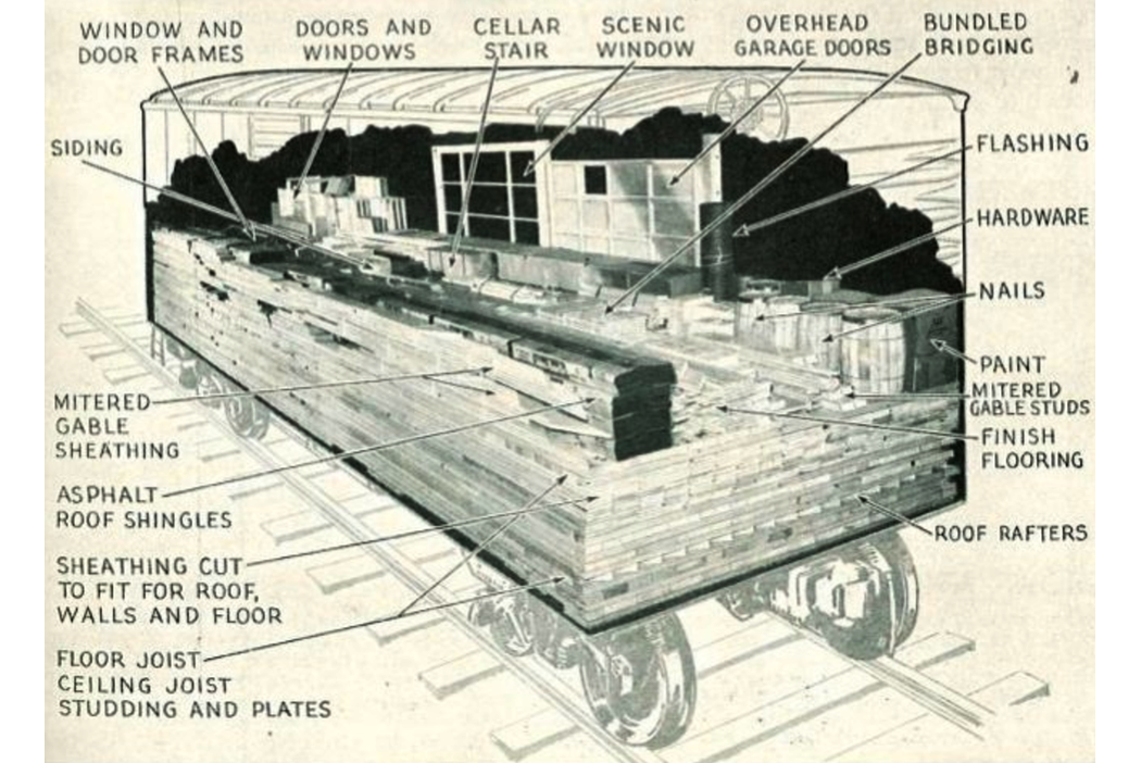 "How a boxcar is loaded with lumber and materials for a ""readi-cut house"", 1952 Aladdin catalogue, Clark Historical Library"
