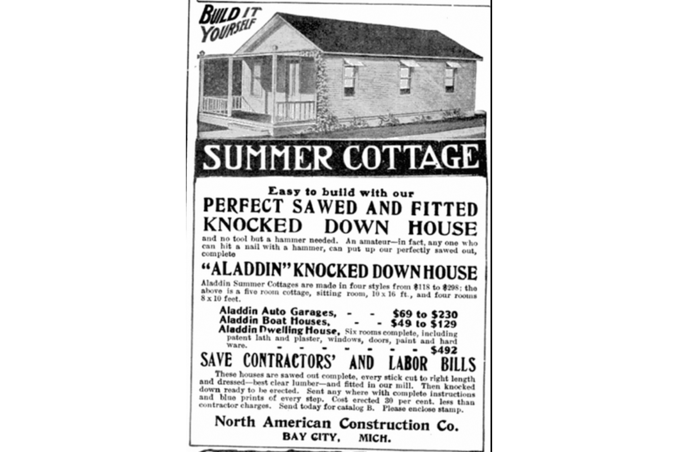1908 advertisement for an Aladdin home in Popular Mechanics Clark Historical Library