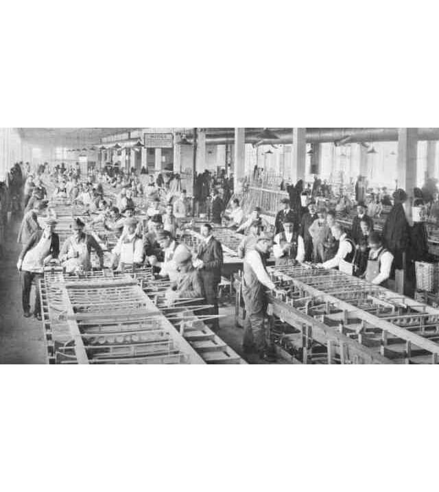 Workers assemble aircraft wings in the Sturtevant manufacturing plant on Amory St. 1919 Aircraft Year Book, Aircraft Manufacturers Association Inc. Courtesy of Vincent Tocco.