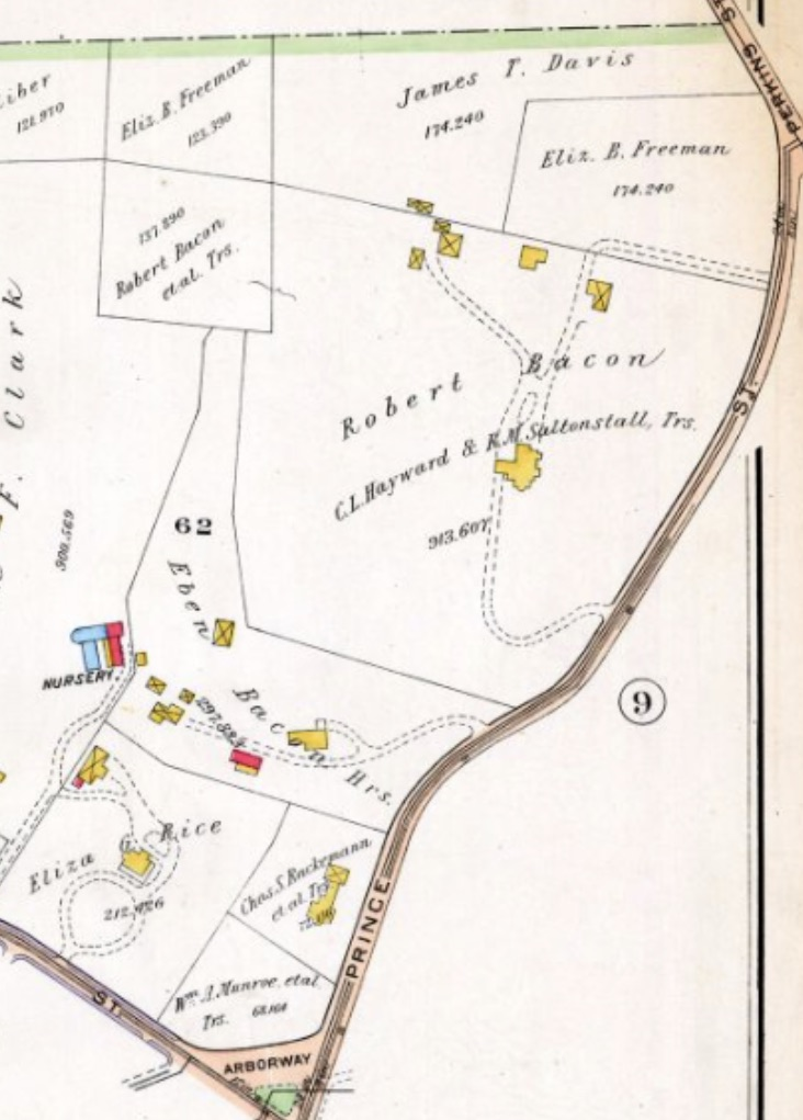 1905 GW Bromley Atlas of Hellenic Hill showing the two Bacon houses.