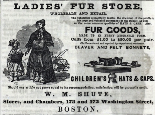 Figure 7: Advertisement for W.M. Shute, hat and fur store, 1854