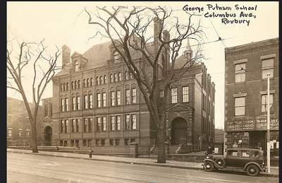 The Putnam School on Columbus Avenue. In an image from 1930. It was originally completed in January 1881 and was likely designed by George Clough, the City Architect. Image courtesy of the BPL Print Department.