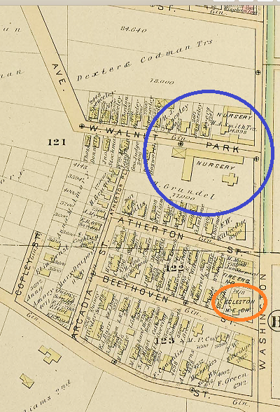1884 G.W. Bromley Atlas of West Roxbury. Showing the Grundel and Smith greenhouses (blue circle), firehouse and the Egleston Square Methodist Church (orange circle).