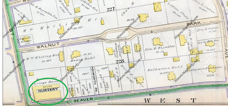 1889 GW Bromley Atlas of Roxbury showing the Stieirt Brothers Nursery. The owners of the large estates scattered on Walnut Park and Egleston Square Street were certainly part of the customer base of the three nurseries in Egleston Square.