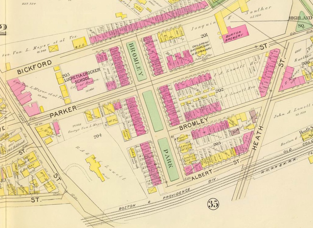 Bromley Park was intended to accommodate six blocks of small townhouses surrounding a common garden area. Planned by John Amory Lowell and built between 1871 and 1873, the design sought to integrate natural, open spaces with dense urban housing. Map from the 1895 Atlas of the City of Boston, Boston proper and Roxbury by G.W. Bromley & Co. Courtesy of The David Rumsey Map Collection.