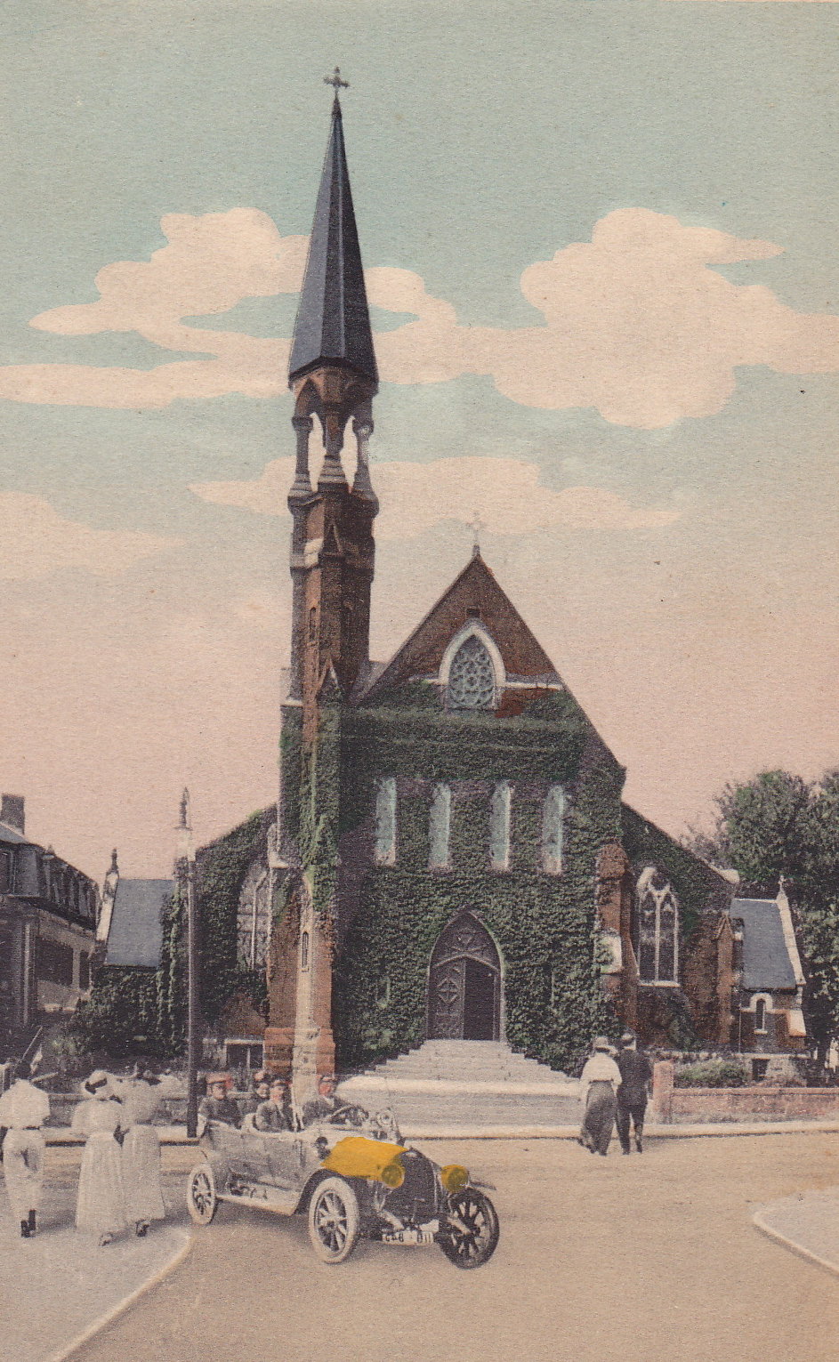 The original St. Thomas Aquinas Church designed by P.C. Keely. From a postcard, about 1915. Courtesy of the Archives of the Archdiocese of Boston.