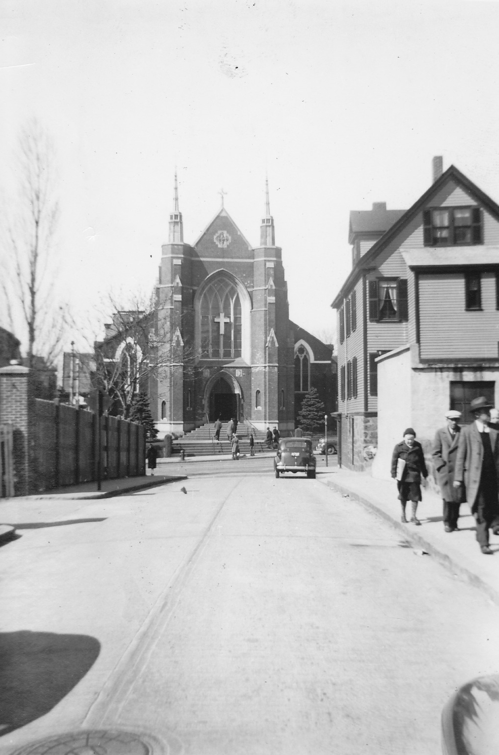 The redesign of the facade of St. Thomas Aquinas Church (view from Child Street), about 1940. Courtesy of Richard Heath (personal collection)