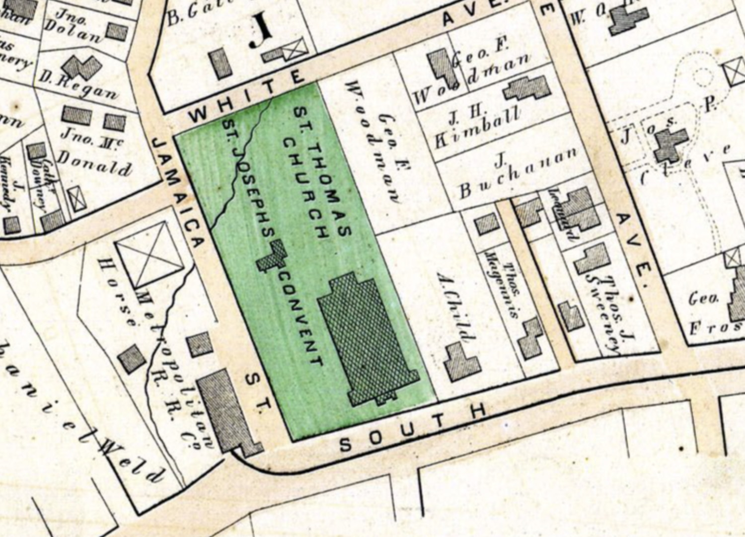 Plan of St. Thomas Aquinas Church, rectory and convent, 1874. From George W. Bromley,  Atlas of the City of Boston: West Roxbury