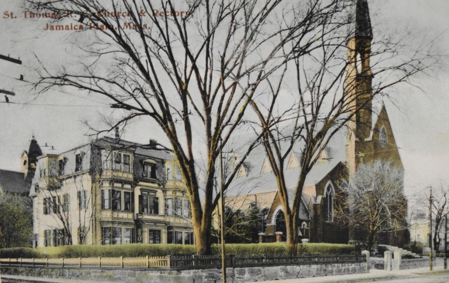 Rectory and Church about 1910 with Pope Leo XIII School in the background. Postcard from the Archives of the Archdiocese of Boston.