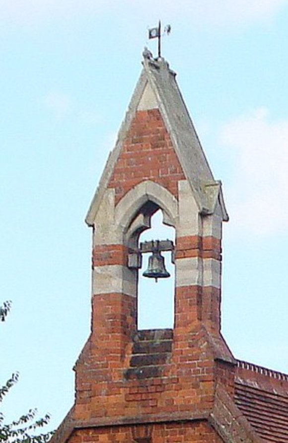Bellcote, St Paul's Church, Spalding, United Kingdom. Built in 1878-1880 in a brick Gothic style with stone trim. Very likely what the bellcote at St. Thomas Aquinas looked like. Image from  https://sites.google.com/site/stpaulfulney/