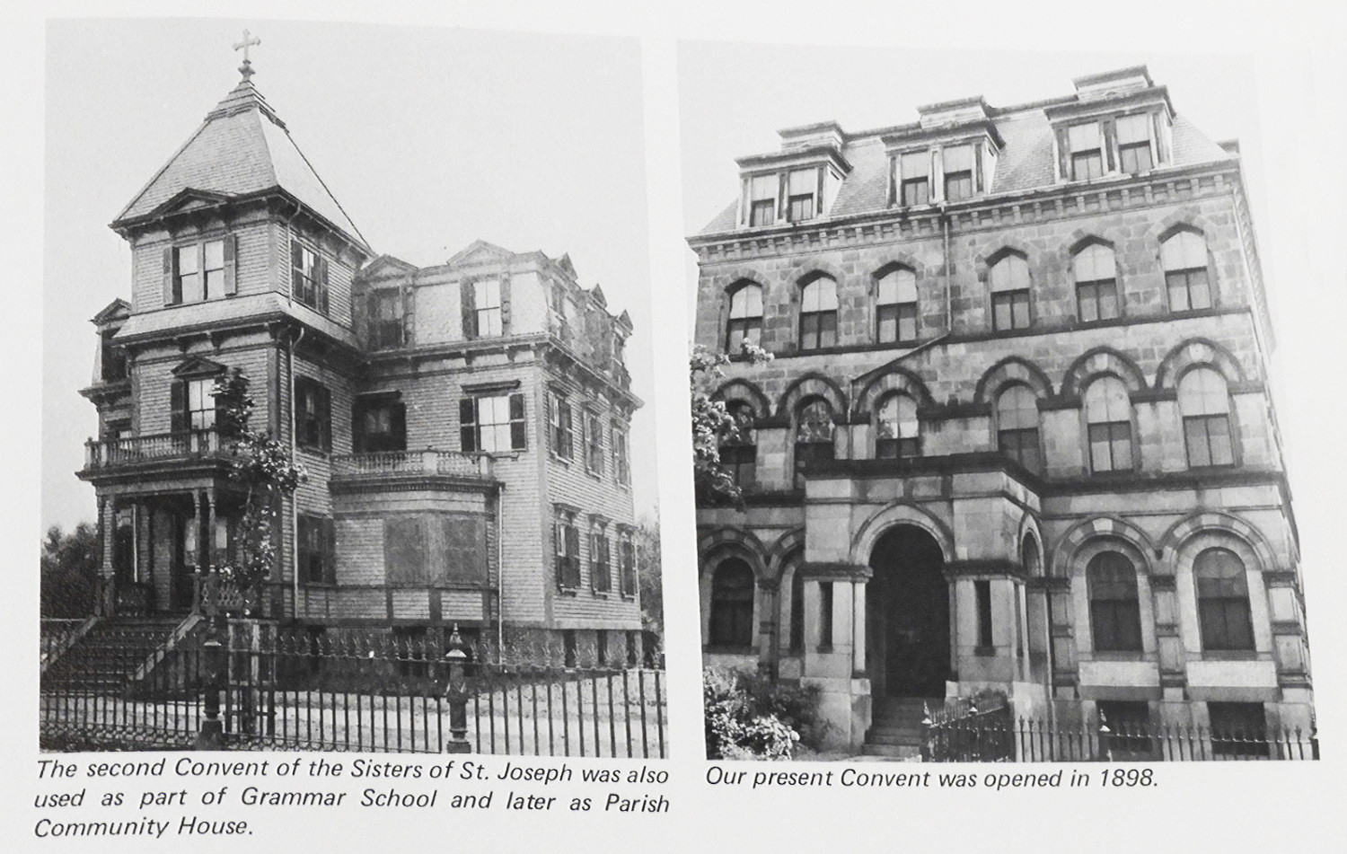 The Convent, showing the 1886 wood-frame enlargement on left and the 1898 stone addition on right. From  Centennial History of St. Thomas Aquinas Church,  1969. Archives of the Archdiocese of Boston.