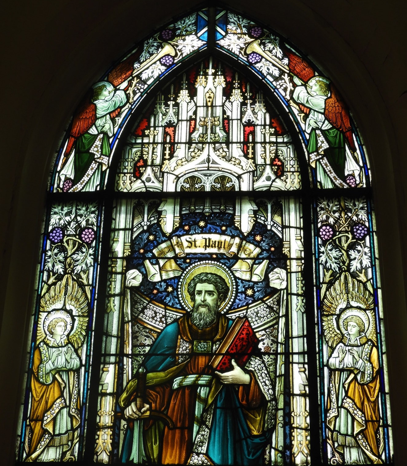Stained glass window of St. Paul. Photograph by Richard Heath, 2019