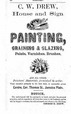 Advertisement for C.W. Drew, house and sign painting store, from Boston City Directory from 1873.