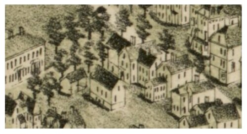 Inset of the 1891 Bird's Eye View map showing 101 Carolina Avenue, Norman B. Leventhal Map Center Collection, Boston Public Library.
