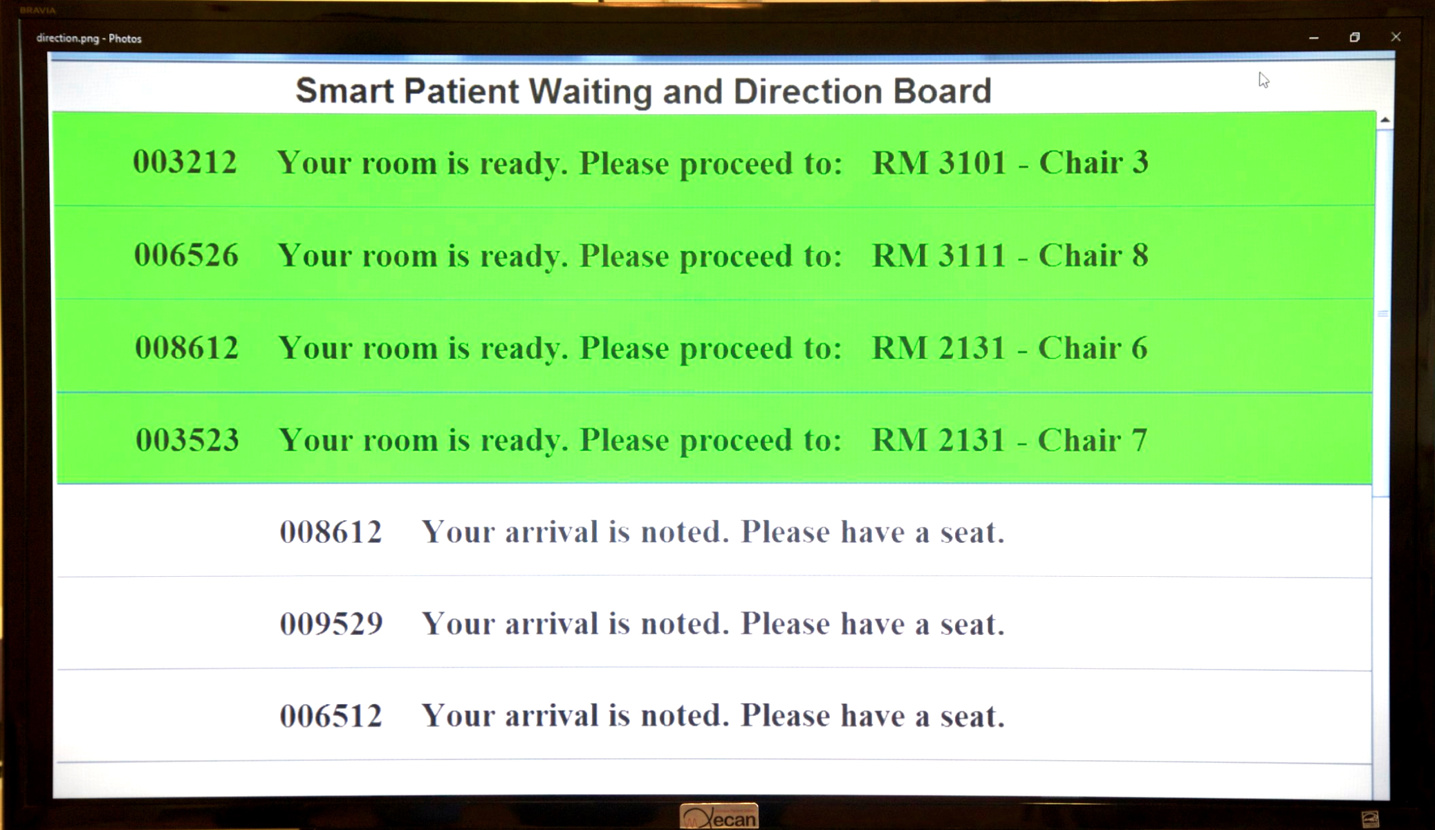 受付エリアの患者の順番待ち&呼び出し用ホワイトボード