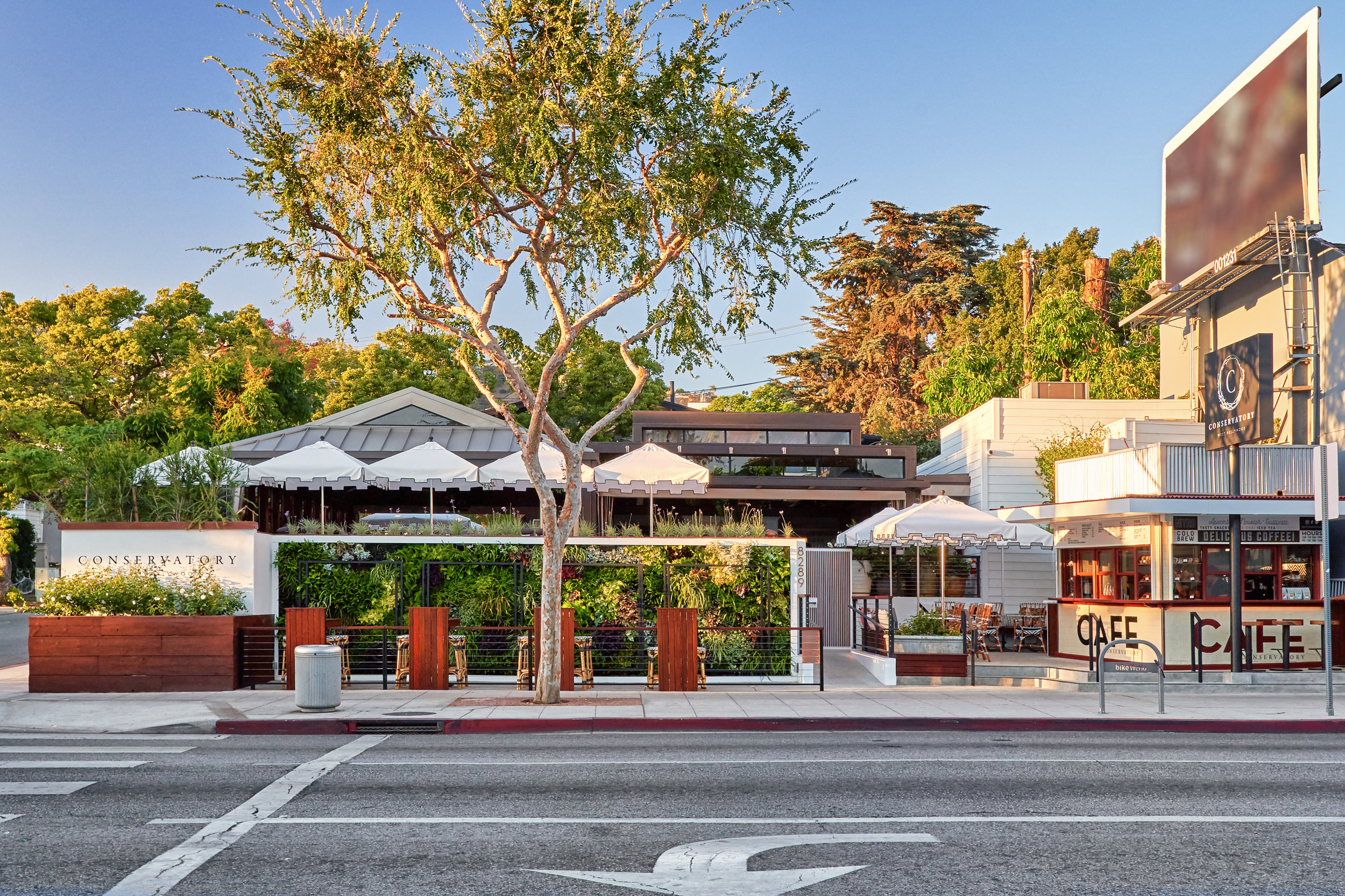 Conservatory restaurant from Santa Monica Blvd.
