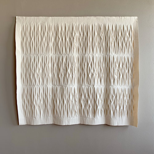 "Ballydoonan  , 2019. 61"" x 69"" x 5"", unbleached canvas"