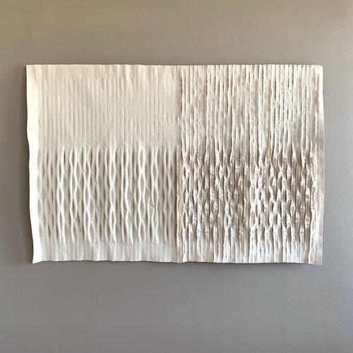 """Dunover  , 2019. 48"""" x 72"""" x 4"""", unbleached canvas"""