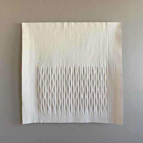 "Gransha  , 2019. 48"" x 48"" x 4"", unbleached canvas"