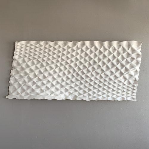 """Greystone  , 2019. 36"""" x 80"""" x 6"""", unbleached canvas"""
