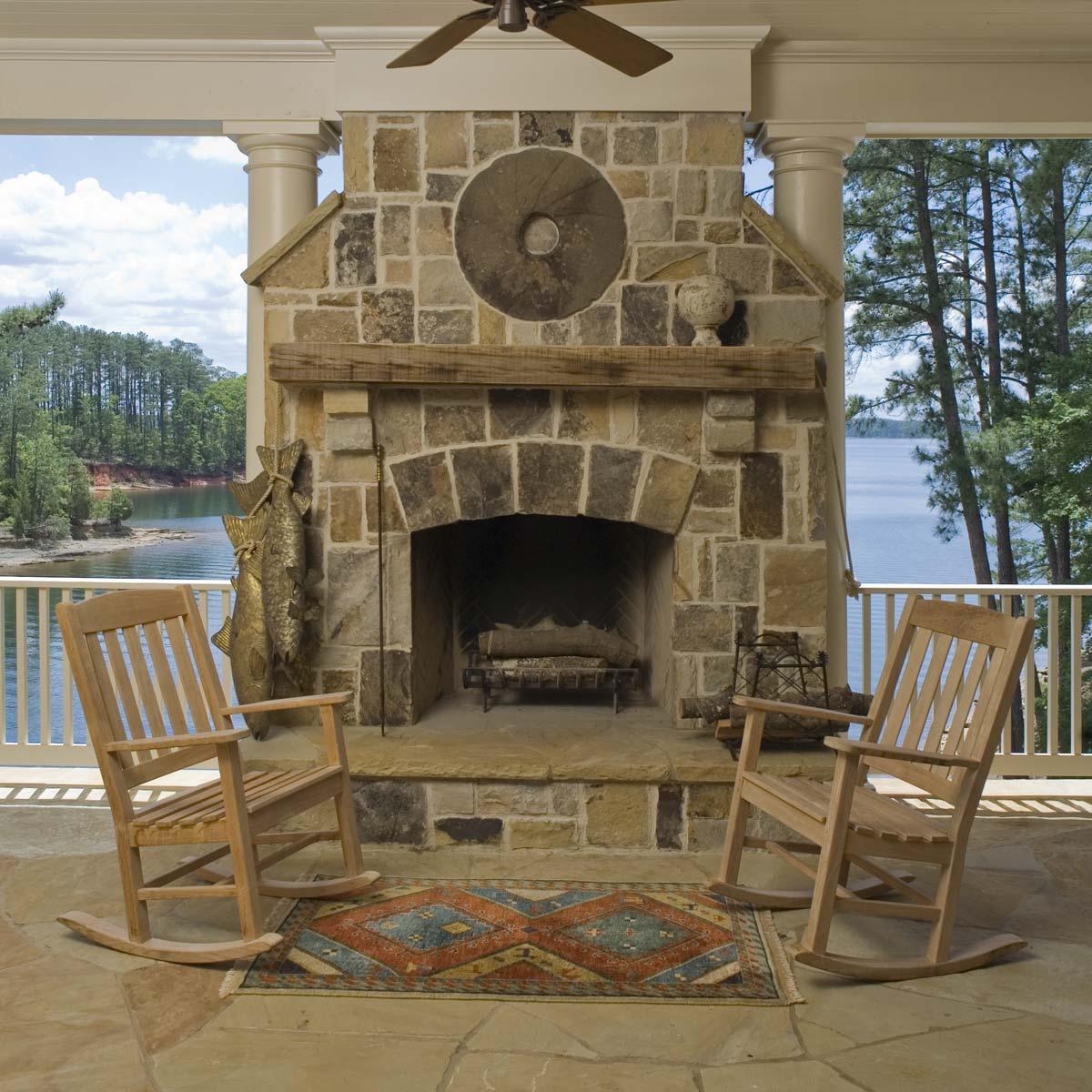 South Carolina Lake House Stone Fireplace